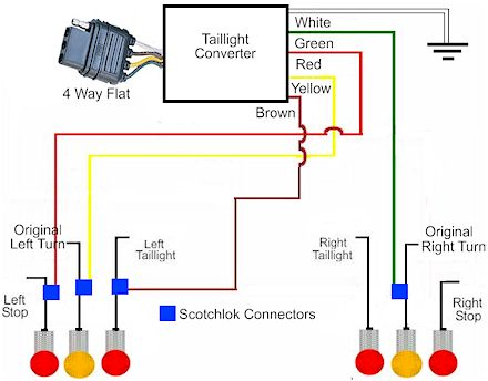 3way_towed_vehicle2 how to install a trailer light taillight converter in your towing 4 wire trailer light diagram at fashall.co